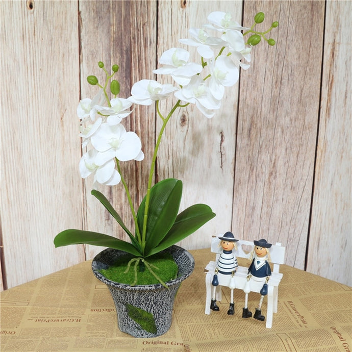 60cm Artificial Flower Real Touch Latex 2 Branch Butterfly Orchid Flowers with Leaves Wedding Home Hotel Decoration Flores