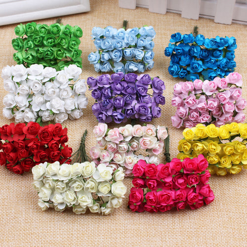144PCS/lot 1cm Head Multicolor Artificial Paper Flowers Rose Handmade Used Decorative Fake Leaf Wedding Home Party Chrismas Gift