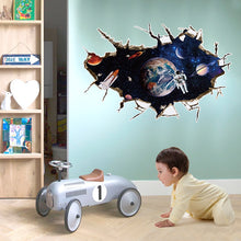 Load image into Gallery viewer, 3D Wall Sticker Outer Space Astronauts in Outer Space Window View Break Through Moon Earth Rocket Wall Mural Poster SK9066A / B