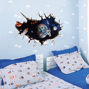 3D Wall Sticker Outer Space Astronauts in Outer Space Window View Break Through Moon Earth Rocket Wall Mural Poster SK9066A / B