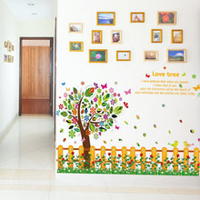 Load image into Gallery viewer, DIY Family Tree Photo Frame Removable Decals Beautiful Flowers Fence Colorful Tree Wall Sticker Wall Decoration x 2 sets