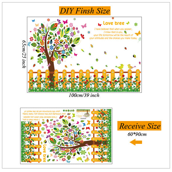 DIY Family Tree Photo Frame Removable Decals Beautiful Flowers Fence Colorful Tree Wall Sticker Wall Decoration x 2 sets