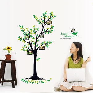 2 set DIY Green Tree With Photo Frame Removable PVC Wall Decals Wall Sticker For Living Room Bedroom Decoration