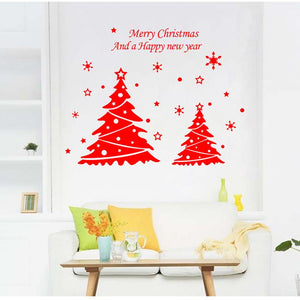 2sets Christmas Decoration For Home Removable Wall Decal DIY Creative Christmas Tree Merry Christmas Happy New Year Wall Sticker