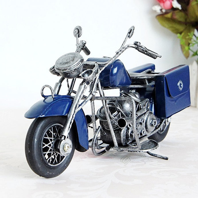 23cm Cool Motorcycle Handmade Metal Craft Motorcycle Model Blue Yellow Red Vintage Art Craft Modern Home Decoration
