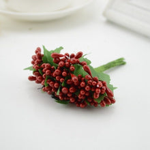 Load image into Gallery viewer, 12pcs Mulberry Silk Party berry stamen leaf