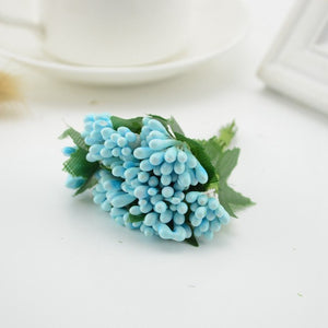 12pcs Mulberry Silk Party berry stamen leaf