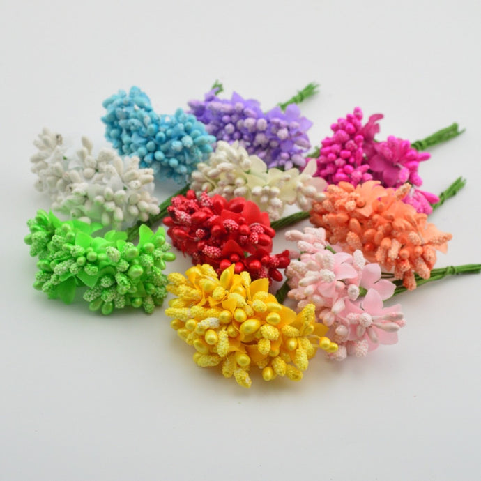10 pcs Artificial Flower Mini Mat Handmade Stamens