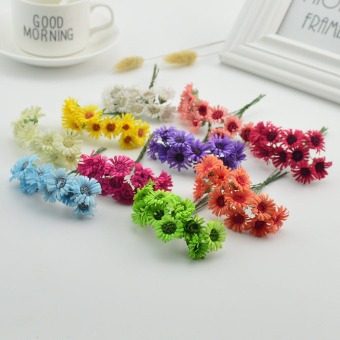 10pcs 2cm cheap Handmade Artificial Chrysanthemum Rose DIY Decorative Wedding Gift Scrapbook Artificial Gerbera
