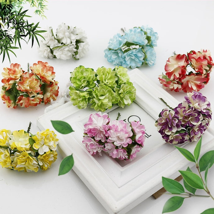 12 pcs Gift box Scrapbooking Mini Carnation Paper Artificial Flowers Bouquet