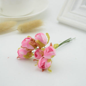 6pcs Small silk Tea Rose Artificial flowers