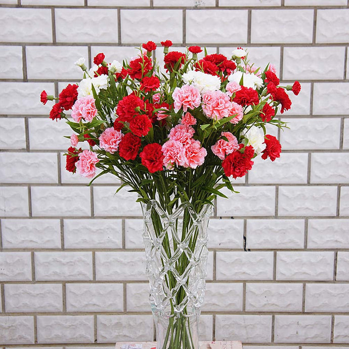 Artificial flowers cheap for christmas home wedding decor accessories diy Mother's Day gift fake plastic flowers silk carnation