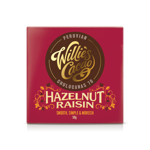 Willie's Cacao Hazelnut & Raisin Chocolate Bar (12x50g)