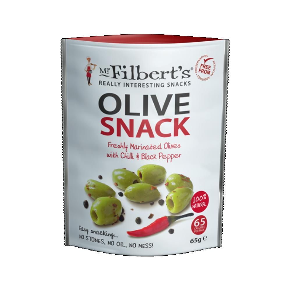 Mr Filberts Green Olives with Chilli & Black Pepper (8x65g)