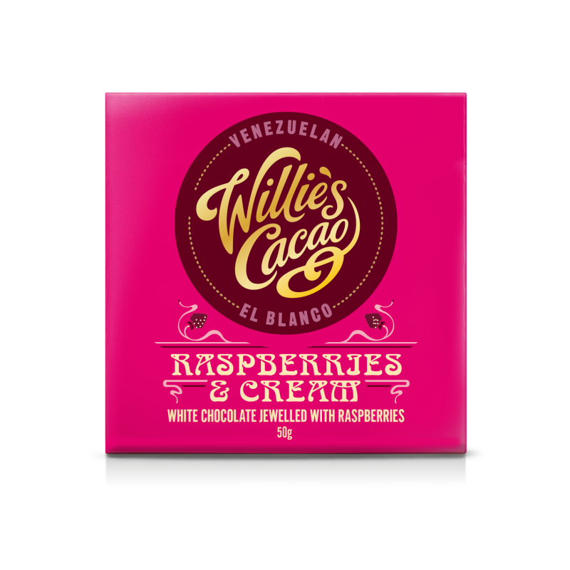 Willie's Cacao Raspberries & Cream Chocolate Bar (12x50g)