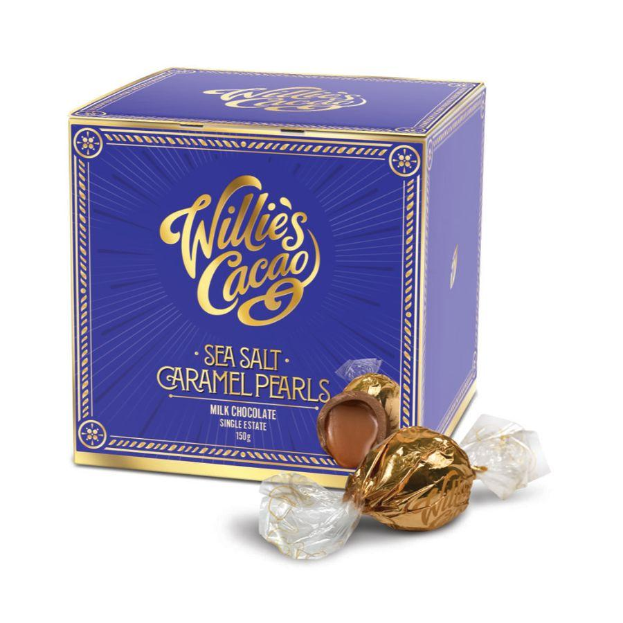 Willies Cacao Milk Chocolate Sea Salt Caramel Pearls (6x150g)