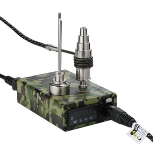 DEMEDO Green Camouflage Enail Kit for Dabbing - PID Temperature Controller with Titanium Nail, Fit for 10/14/18mm male and female nectar collector