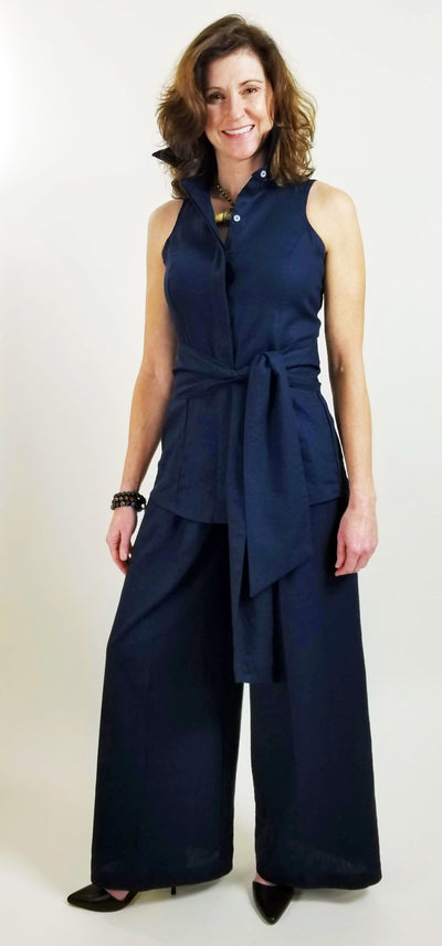 CANYON SHIRT WITH SASH IN NAVY LINEN