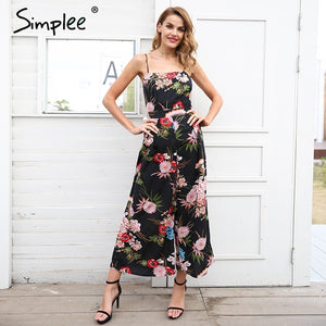 0c789e52a5 Simplee Sexy floral print strap backless jumpsuits women Solid tie up bow  flare opening playsuits Summer
