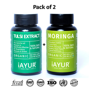 Ayurvedic Medicine - iAYUR Organic Moringa 500 Mg 60 Veg Caps & Organic Tulsi Extract 500 Mg 60 Veg Caps | Breathe Easy Value Pack of 2 - iAYUR