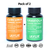 Ayurvedic Medicine - iAYUR Curcumin (95% Total Curcuminoids) 400 Mg 60 Veg Caps & Graviola (Soursop) 500 Mg 60 Veg Caps | Immunity Value Pack of 2 - iAYUR