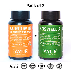 Ayurvedic Medicine - iAYUR Boswellia 500 Mg 60 Veg Caps & Curcumin 400 Mg 60 Veg Caps Advanced Formula | Bones & Joint Suppment Value Pack of 2 - iAYUR