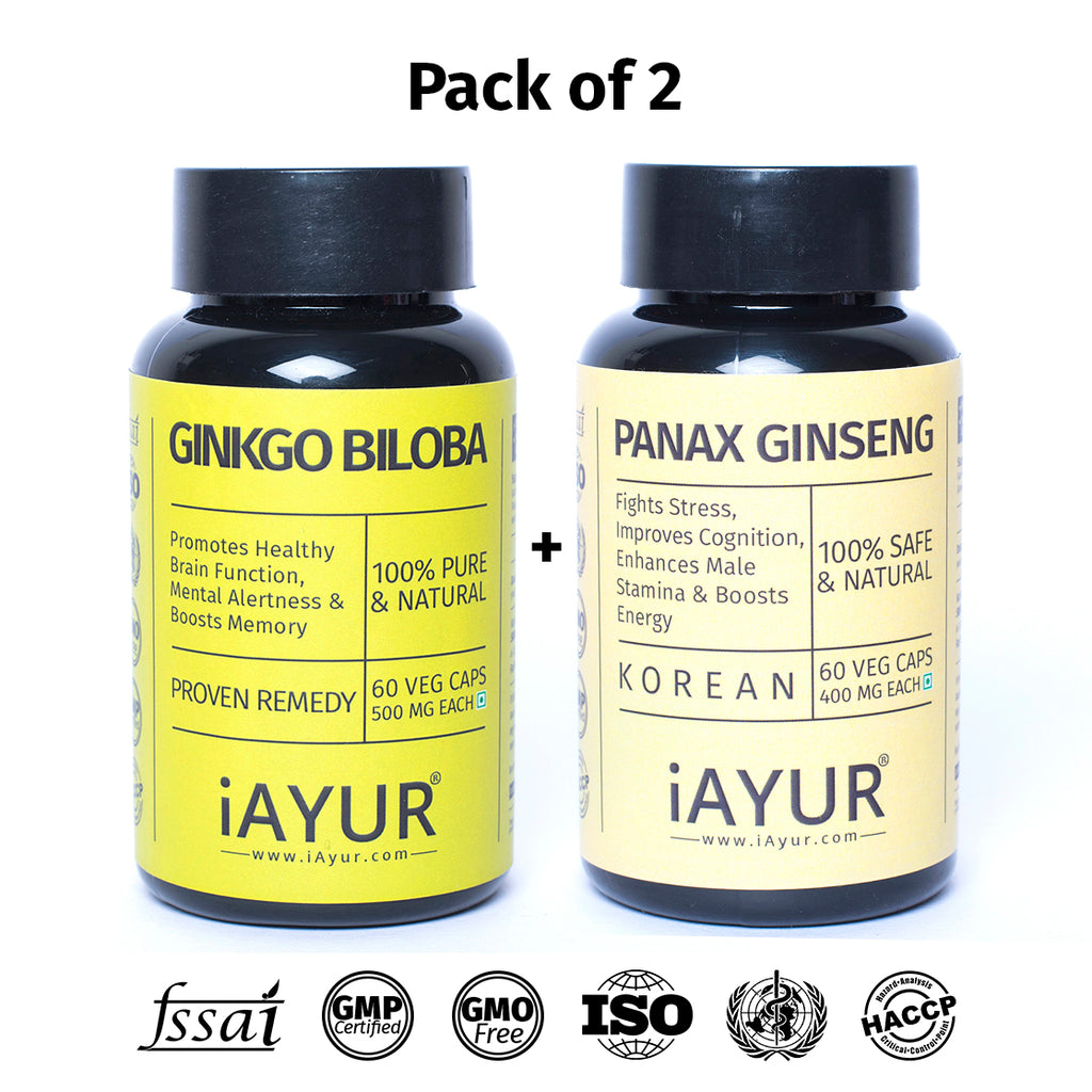 Ayurvedic Medicine - iAYUR Panax Ginseng Korean 400 Mg 60 Veg Caps & Ginkgo Biloba 120 Mg 60 Veg Caps | Memory Booster Value Pack of 2 - iAYUR