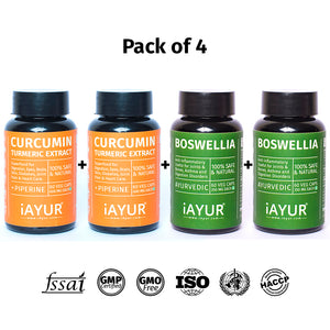 Ayurvedic Medicine - iAYUR Boswellia 500 Mg 60 Veg Caps & Curcumin 400 Mg 60 Veg Caps Advanced Formula | Bones & Joint Suppment Value Pack of 4 - iAYUR