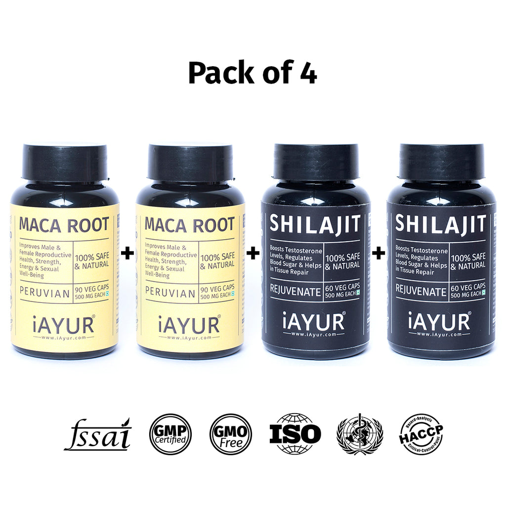 Ayurvedic Medicine - iAYUR Shilajit Pure Himalayan 500 Mg 60 Veg Caps & Maca Root Peruvian 400 Mg 90 Veg Caps | Stamina & Energy Value Pack of 4 - iAYUR