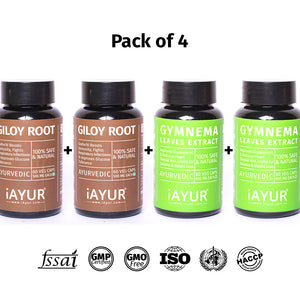 Ayurvedic Medicine - iAYUR Giloy Root Extract 500 Mg 60 Veg Caps & Gymnema Extract 500 Mg 60 Veg Caps | Sugar Control Value Pack of 4 - iAYUR