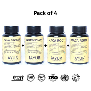 Ayurvedic Medicine - iAYUR Panax Ginseng 400 Mg 60 Veg Caps & Peruvian Maca Root 500 Mg 90 Veg Caps Advanced Formula | Testosterone Booster Value Pack of 4 - iAYUR