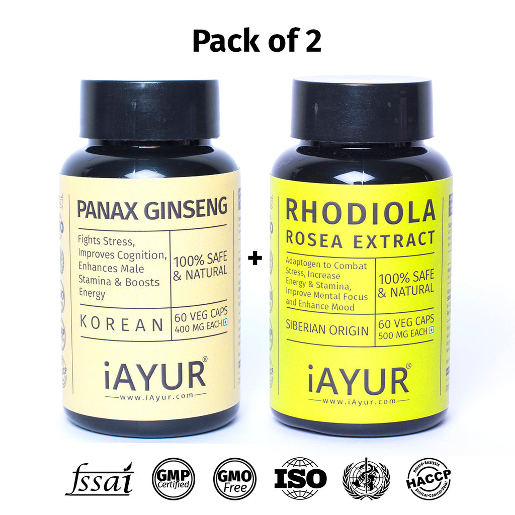 Ayurvedic Medicine - iAYUR Panax Ginseng 400 Mg 60 Veg Caps & Rhodiola Rosea 500 Mg 60 Veg Caps | Stress Relief & Focus Value Pack of 2 - iAYUR