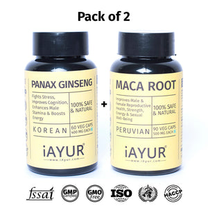 Ayurvedic Medicine - iAYUR Panax Ginseng 400 Mg 60 Veg Caps & Peruvian Maca Root 500 Mg 90 Veg Caps Advanced Formula | Testosterone Booster Value Pack of 2 - iAYUR