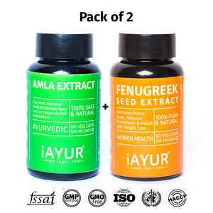 Ayurvedic Medicine - iAYUR Fenugreek Seeds Extract 500 Mg 60 Veg Caps & Amla Extract 500 Mg 60 Veg Caps | Thyroid Control Value Pack of 2 - iAYUR