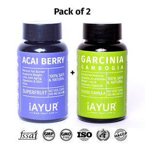 Ayurvedic Medicine - iAYUR Garcinia Cambogia 400 Mg 60 Veg Caps & Acai Berry Extract 500 Mg 60 Veg Caps | Weight Loss Natural Fat Burner Value Pack of 2 - iAYUR