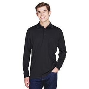 Adult Pinnacle Performance Long-Sleeve Piqué Polo With Pocket - Small / Black - Polo