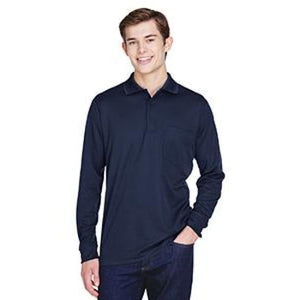 Adult Pinnacle Performance Long-Sleeve Piqué Polo With Pocket - Small / Classic Navy - Polo