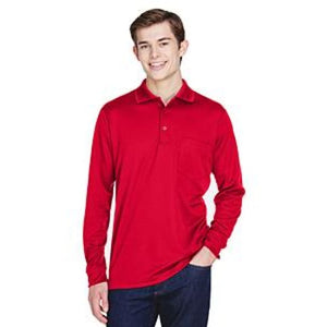 Adult Pinnacle Performance Long-Sleeve Piqué Polo With Pocket - Small / Classic Red - Polo
