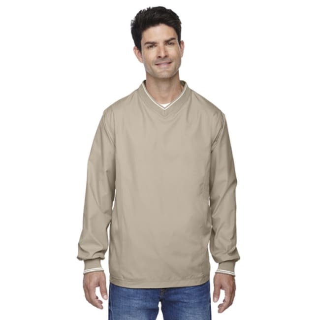 Adult V-Neck Unlined Wind Shirt - Small / Putty - Outerwear