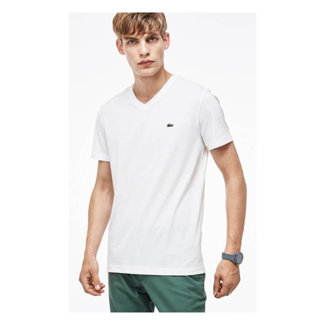 Classic Pimacotton V-Neck T-Shirt - Small / White - Mens T-Shirt