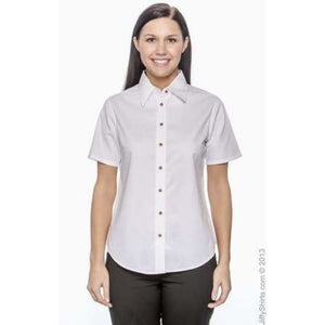 Ladies Easy Blend Short-Sleeve Twill Shirt With Stain-Release - Shirt