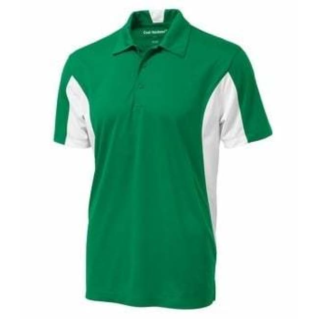 Snag Resistant Colour Block Sport Shirt - Small / Kelly Green/white - Sport Shirt