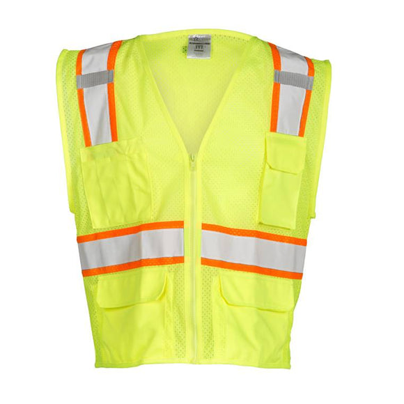 ML Kishigo 1195 Class 2 Ultra-Cool 6-Pocket Safety Vest - Yellow/Lime - Timothy's Toolbox