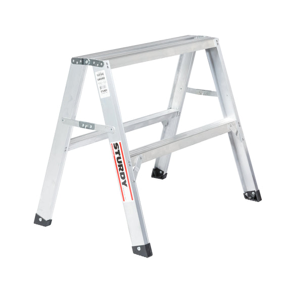 Sturdy Ladders 130 Series Aluminum Sawhorse Ladder Mustang 300 lb Rated  - 2.5' - Timothy's Toolbox