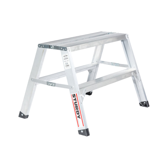 Sturdy Ladders 140 Series Aluminum Sawhorse Ladder Flat-Top 300 lb Rated  - 2' - Timothy's Toolbox