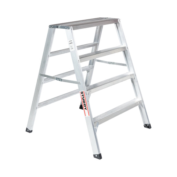 Sturdy Ladders 140 Series Aluminum Sawhorse Ladder Flat-Top 300 lb Rated  - 4' - Timothy's Toolbox