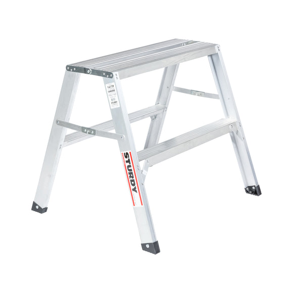 Sturdy Ladders 140 Series Aluminum Sawhorse Ladder Flat-Top 300 lb Rated  - 2.5' - Timothy's Toolbox