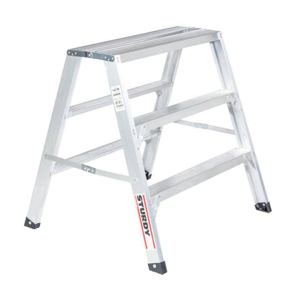 Sturdy Ladders 140 Series Aluminum Sawhorse Ladder Flat-Top 300 lb Rated  - 3' - Timothy's Toolbox