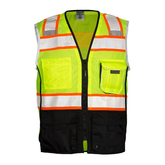 ML Kishigo 1515 Lime/Yellow Ultra Cool Black Series Black Bottom Vest - Timothy's Toolbox