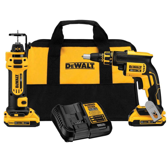 DeWalt DCK263D2 20V MAX Cordless Drywall Screwgun & Cut-Out Tool Combo Kit - Timothy's Toolbox